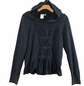 Anthropologie-E-By-Eloise-Long-Sleeve-Hooded-Top-Sz-Medium-Navy-Blue-Peplum-Hem