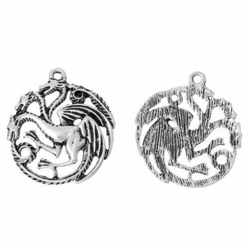 5 Or 10PCs Game Of Thrones House Targaryen Sigil 31mm Dragon Pendants C1816-2