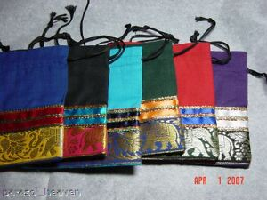 6-CYMBAL-ZILL-ZARI-POUCHES-BAG-Purple-Turquoise-Black-Belly-Dance-Gypsy-India
