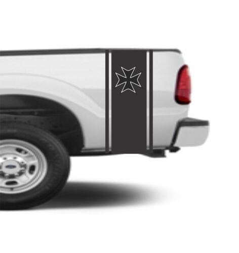 "VINYL GRAPHICS DECAL STICKER TRUCK BED STRIPE MALTESE CROSS SP4-57 10/"" x 48/"""