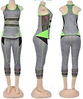 Women's Active Wear 1 Set 2 Pcs Top&legging Capri Soft Breath Summer Yoga Gym