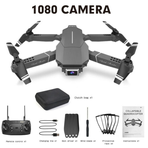 E98 Drone Foldable Quadcopter WIFI FPV 4K 1080P Wide-Angle HD Camera Batteries