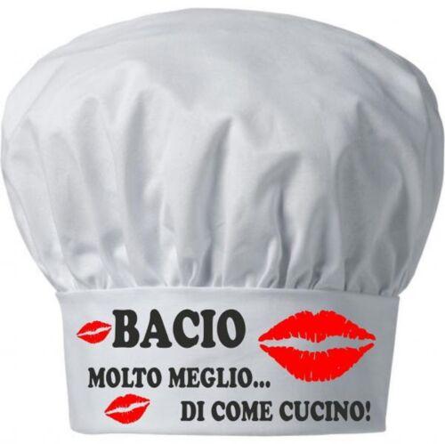 Cappello UOMO DONNA cuoco chef  bianco scritta bacio meglio di come cucino