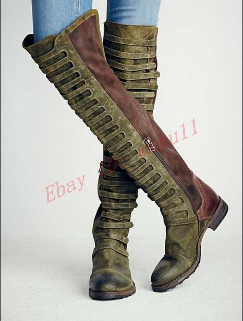 New Snow Suede Retro Side Zip European Flat Motorcycle Over the Knee High Boots