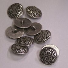 8pc 15mm Germanic Teutonic Inspired Pewter Metal Military Button 2108