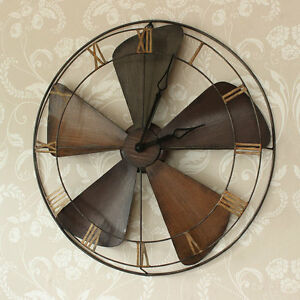large industrial style metal wood fan wall clock Roman Numeral ...