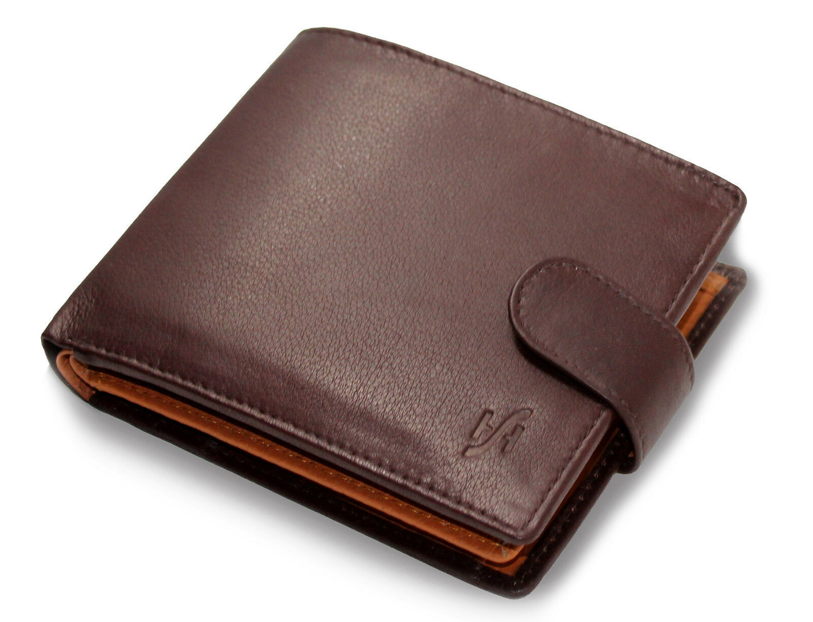 Mens RFID Blocking  Soft Nappa Leather Wallet Brown Tan