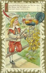 Nursery-Rhyme-Cock-a-doodle-doo-Rooster-Embossed-1910-Postcard-Oxford-Maryland