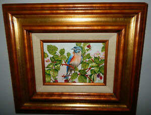 LOOK-ITS-A-BLUEBIRD-original-oil-on-canvas-painting-artist-signed-framed-flowers