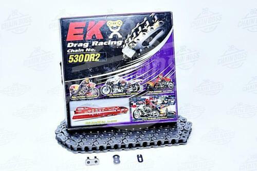EK Chains 530 x 160 Links DR2 Drag Bike Series  Non Oring Chrome Drive Chain