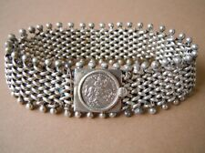 Seltenes Armband geprüftes Silber Münze Motiv Mann Pferd Drache 32,1 g/19,5 cm
