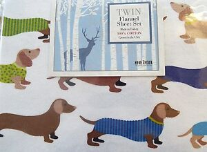 Dachshund Twin Flannel Sheet Set Dog Show Homegrown