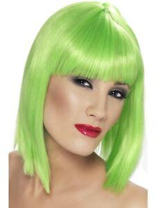 NEON verde GLAM Parrucca Corta, schietti con Frange Donna Smiffys Costume Costume  </span>