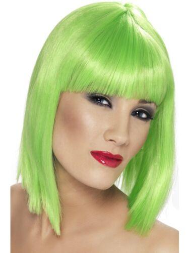 Vert fluo perruque GLAM COURTE émoussé avec frange femme Smiffys Costume Robe fantaisie