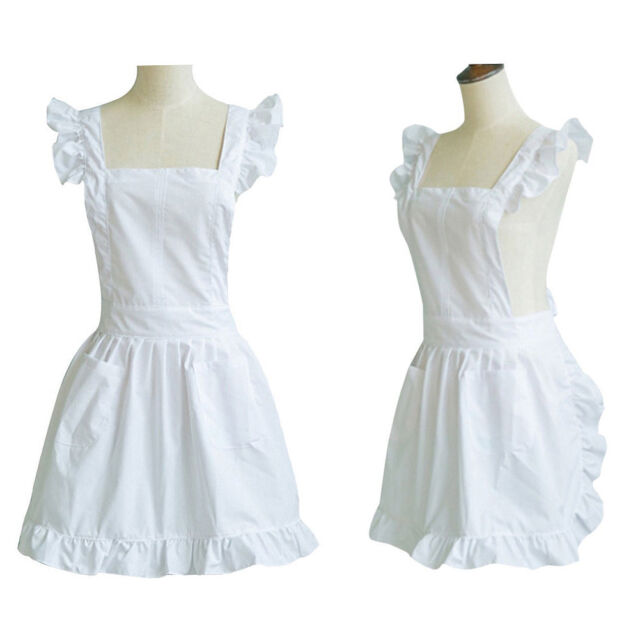 White Kitchen Frilly Victorian Pinnafore Apron For Waitress Maid Downton  Costume