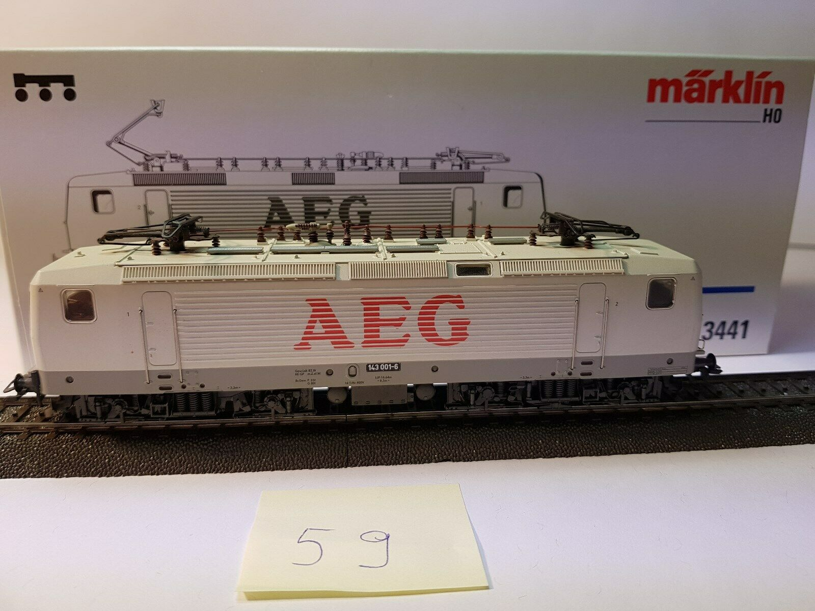 Märklin 3441 BR 143 E-Lok DR DB BIANCO AEG Delta Digitale IN SCATOLA ORIGINALE (59)