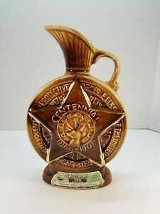 JIM BEAM Collectible Elks Lodge Centennial Whiskey Bottle Collectible Whiskey Decanter BPOE Elks Whiskey Decanter