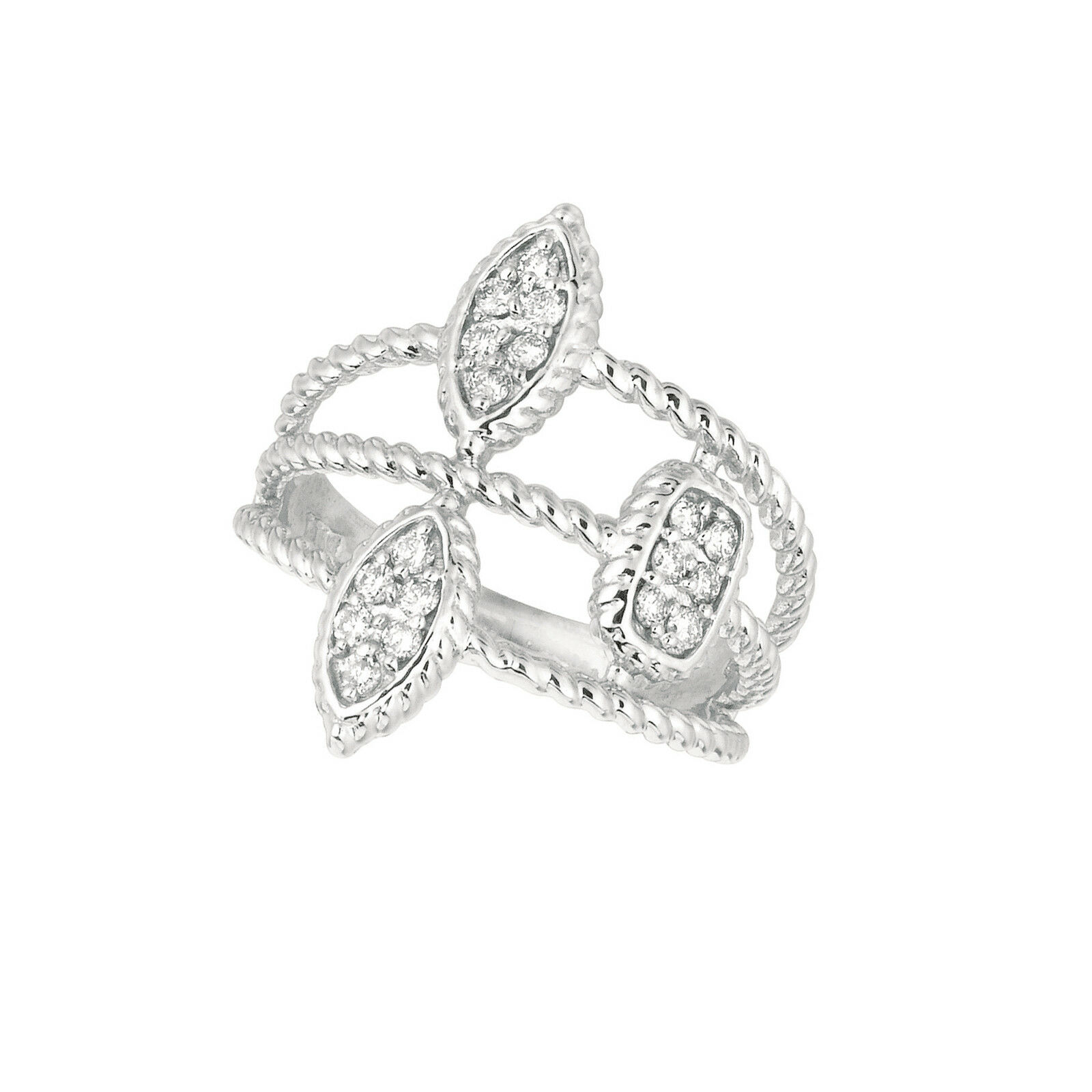 Fine Rings Fine Jewelry New 14k White Gold 9mm Pearl And Pave Diamond Ring 0.23 Ct