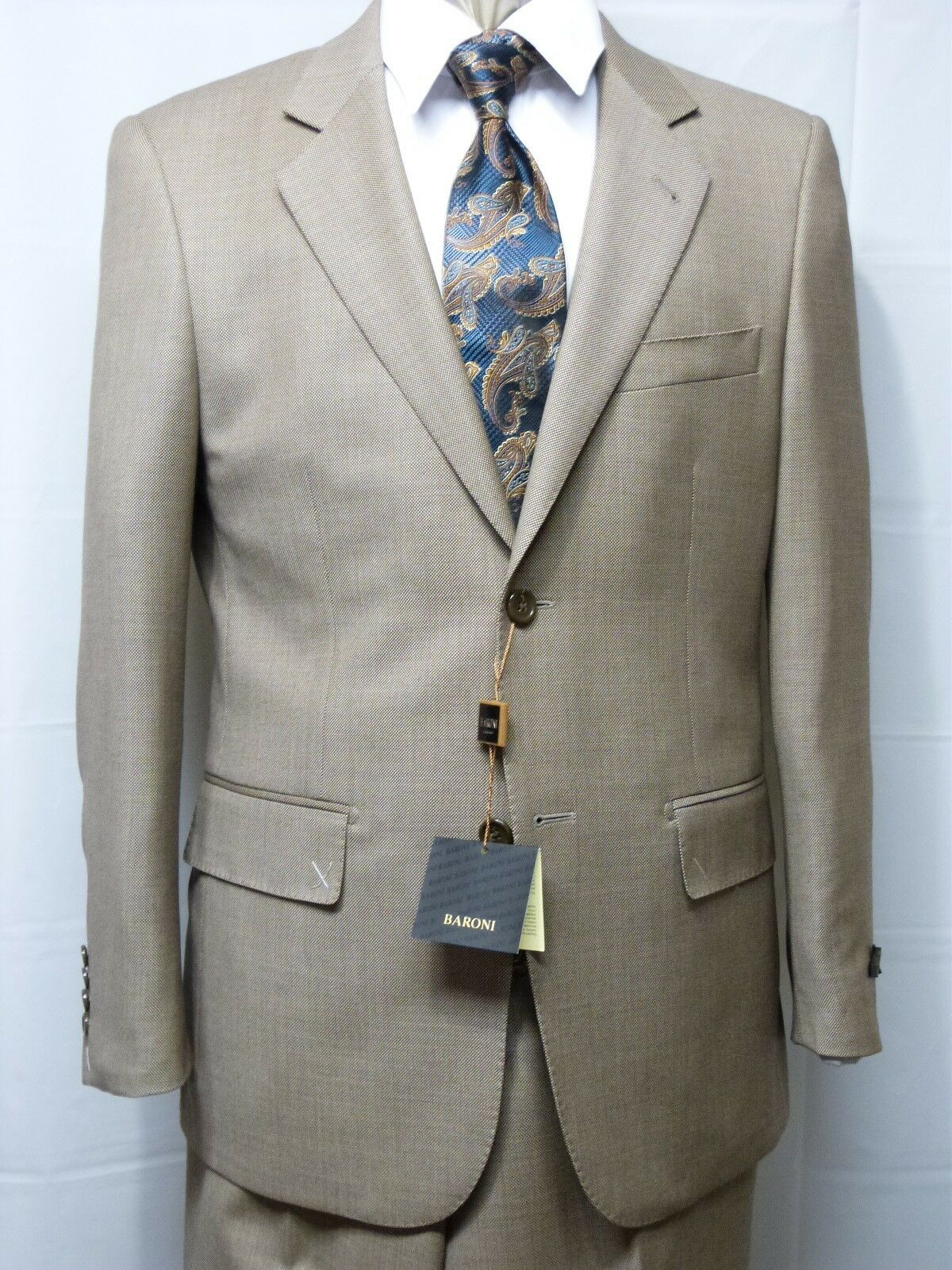 Baroni Suit, Two Button,100% Wool, Tan, NWT