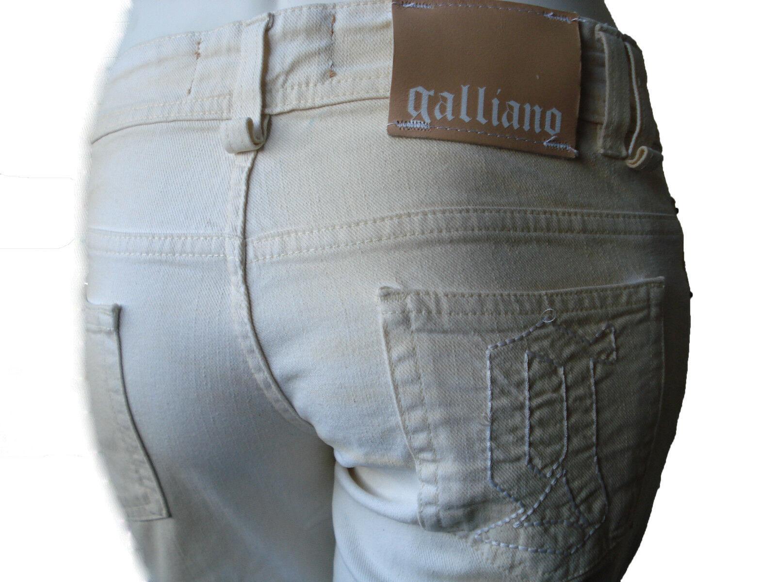 John Galliano Jeans Pants Denim Beige Hose Röhre Slim Neu