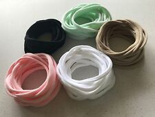 25 THIN Super Soft Skinny Nylon Elastic Baby Headbands 5 Colour Mix Variety
