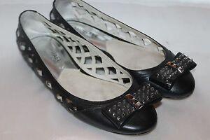 MICHAEL-KORS-Black-Cutout-Leather-LARISSA-Spike-Bow-Ballet-Flats-Sz-6-150