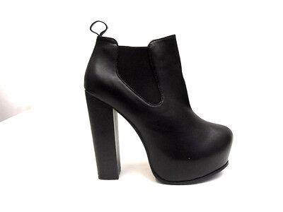 Nuevo Para Mujer Damas Tacón Alto Bloque De Plataforma Oculta Chelsea Botines Zapatos