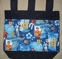 Denim Walker Bag Handmade/w Elvis Blue Hawaii Flowers Fabric