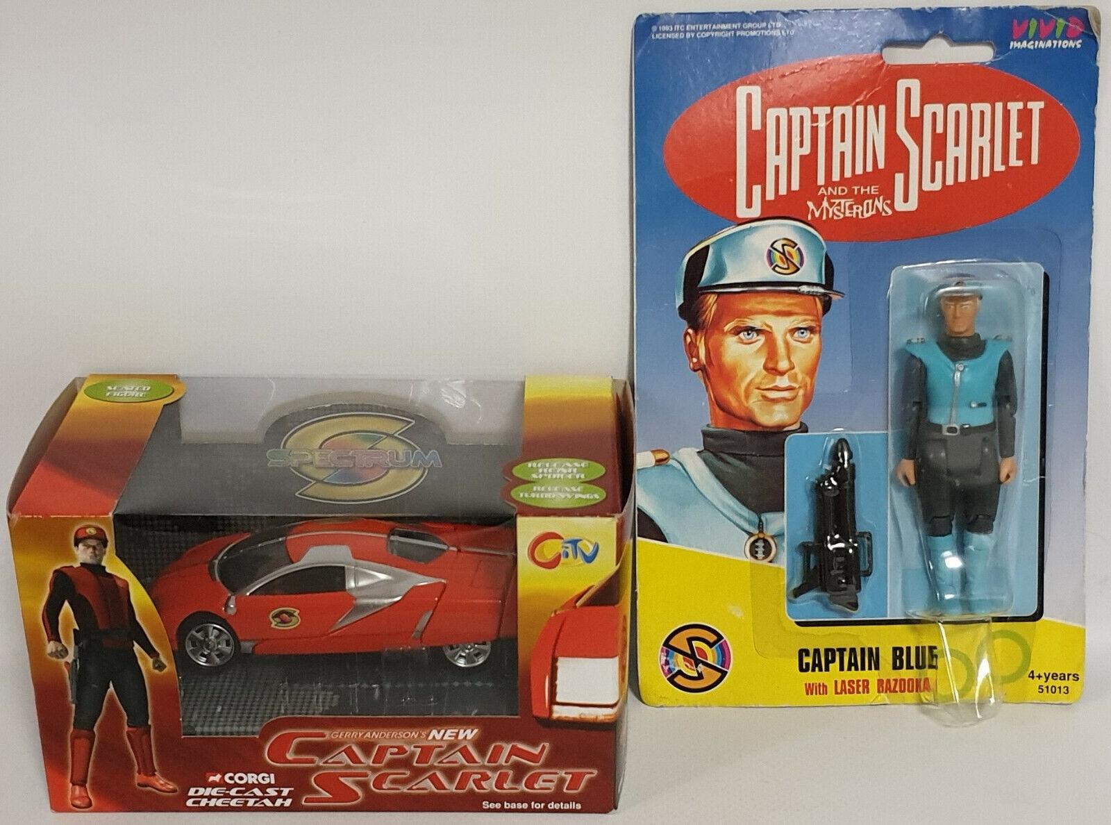 CAPTAIN SCARLET   CHEETAH DIE CAST MODEL & CAPTAIN blueE ACTION FIGURE