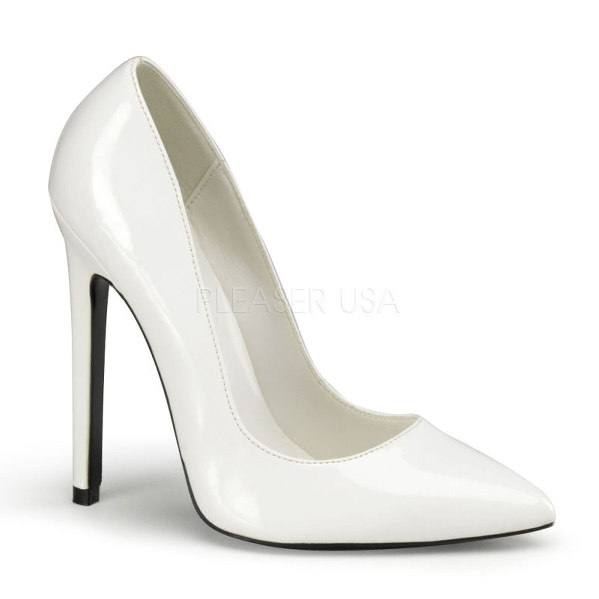 PLEASER Sexy shoes Classic White 5  Stilettos High Heels Pumps  SEXY20 W