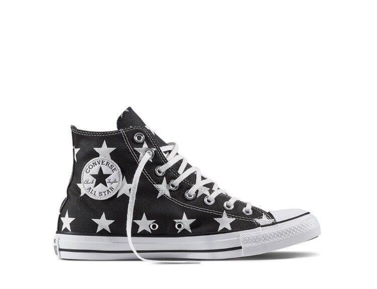 Filles Garçons Converse Chuck Taylor All Star HI Baskets taille 4 noir étoiles blanches