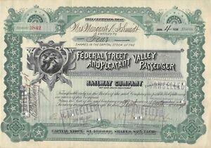 Détails sur Federal Street & Pleasant Valley Passenger Railway Company Certificate 1898