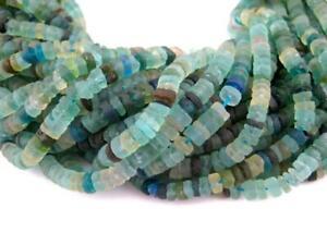 Roman-Glass-Cylinder-Heishi-Beads-5mm-Afghanistan-Green-15-Inch-Strand-beads