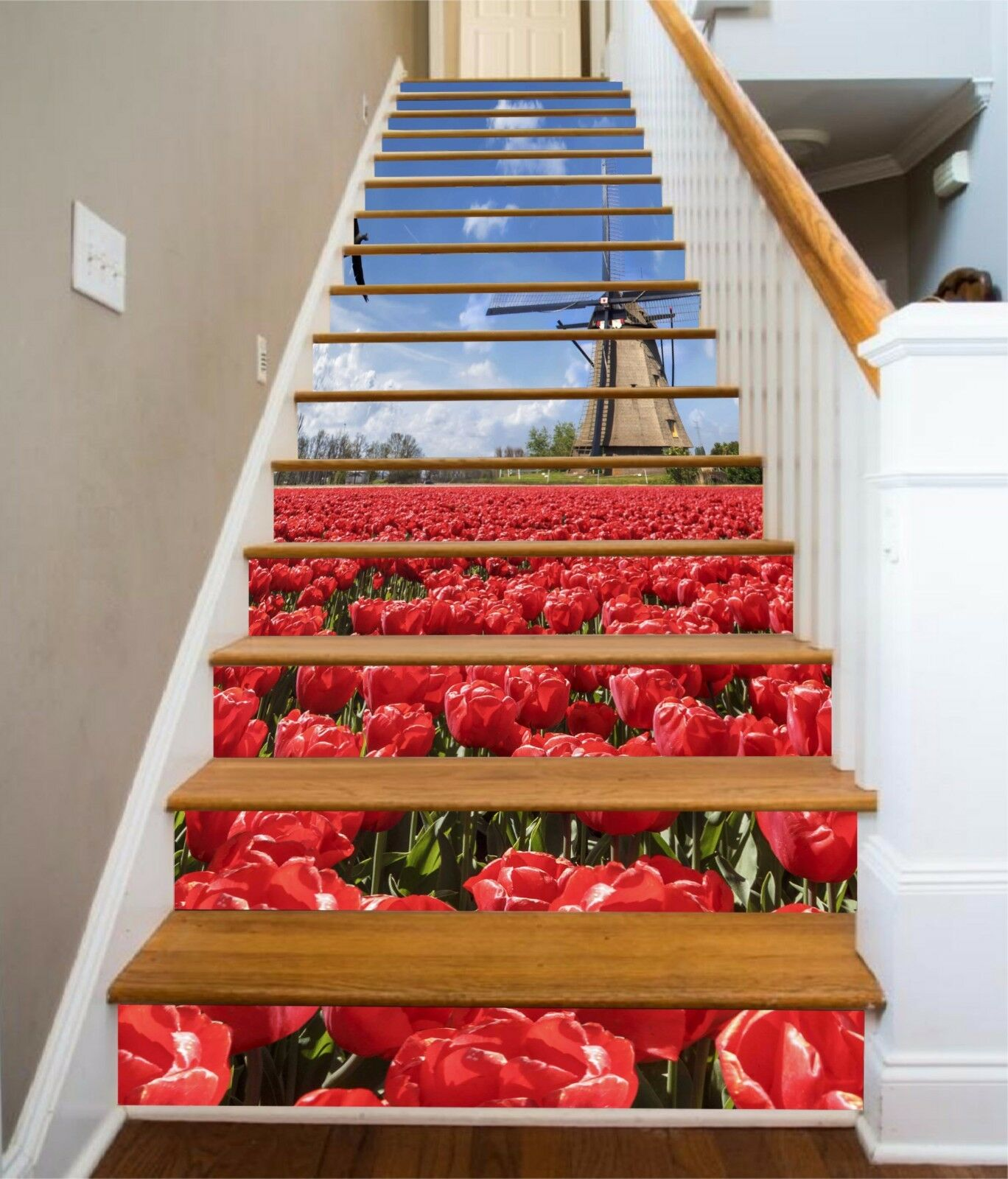 3D rot Tulip Field 258 Risers Decoration Photo Mural Vinyl Decal Wallpaper CA