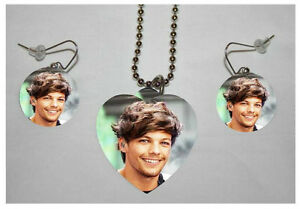 LOUIS-TOMLINSON-2-034-ONE-DIRECTION-034-Band-Photo-Charm-Necklace-amp-Earring-Set
