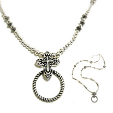 Faith Fish Christian Cross ID Badge Tag Key Card Glass Holder Necklace Lanyard