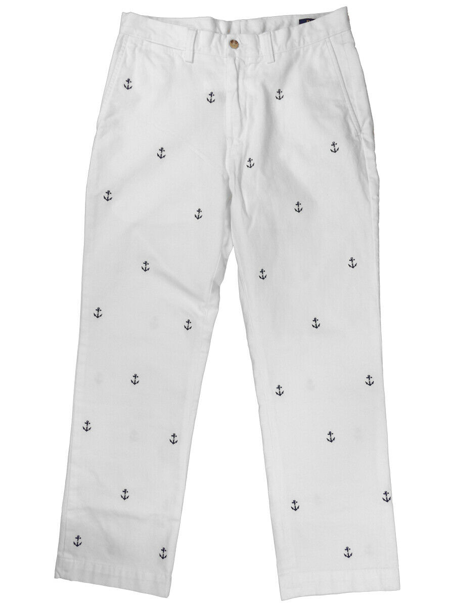 Ralph Lauren Polo Mens Classic Fit All Over Anchor Pants White Navy New