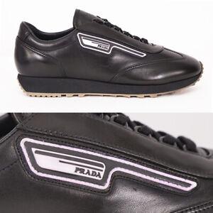 12 US 13 NEW PRADA Black Leather PINK