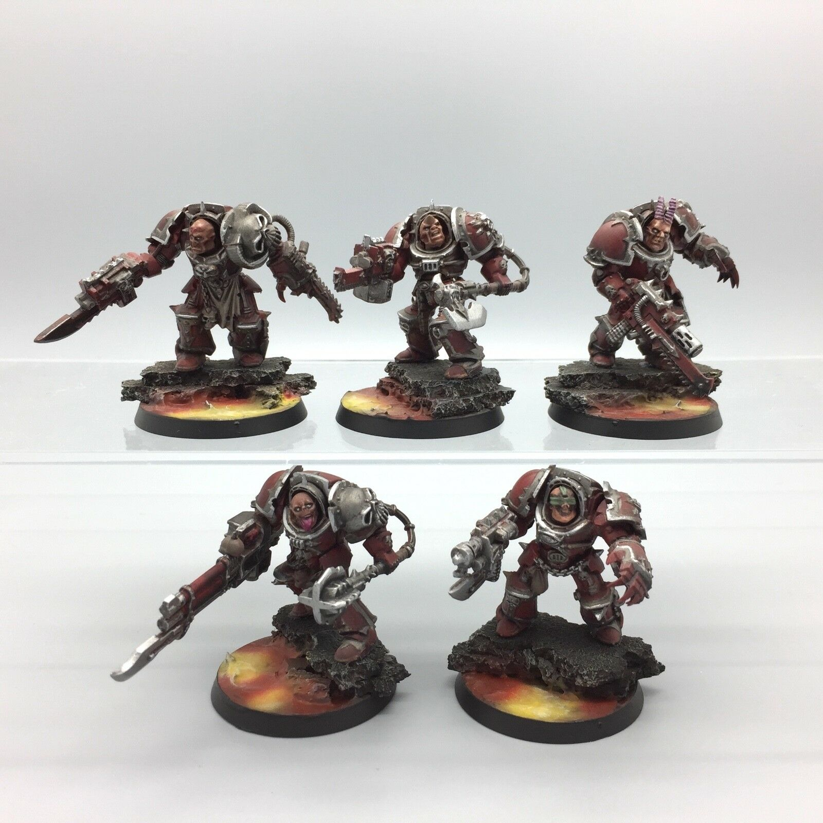 WARHAMMER 40K CHAOS SPACE MARINES KHORNE TERMINATORS SQUAD PAINTED & BASED