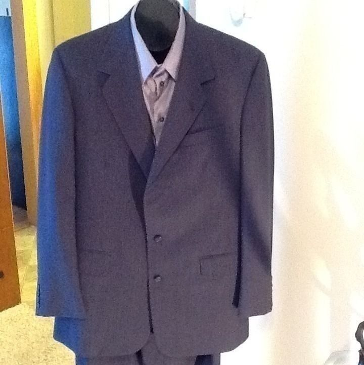 Men Tom James Pinstripe Wool 2 Button Suit Größe 44 W34/L33