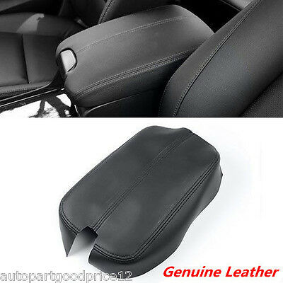 Black Genuine Leather Console Lid Centre Armrest Cover For2008-2012 Honda Accord