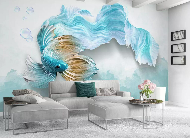 3D Blau Fisch Grün 8 Mauer Papier Exklusiv MXY Fototapete Abziehbild Innen Mauer