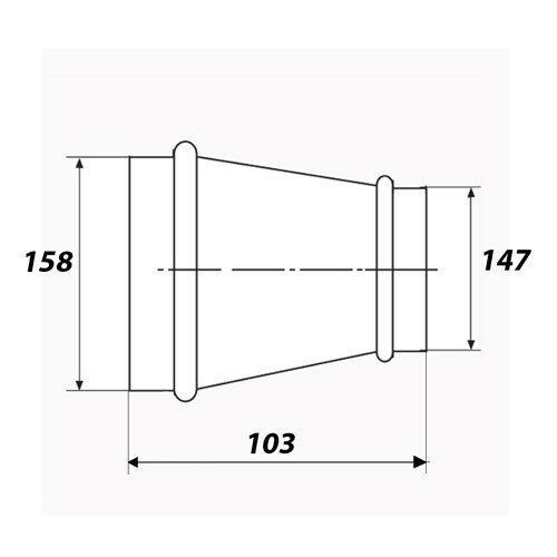 Reduktion Reduzierung Verbinder Wickelfalzrohr dalap RM Ø160//150mm 3126