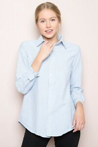 349add96f6a2a New brandy Melville Blue White Striped Isabela Shirt Button Down top ...