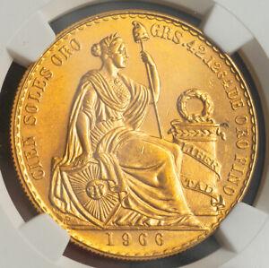 1966, Peru (Republic). Gold 100 Soles (46.81gm!) Coin. Only 3,409 pcs! NGC MS63!