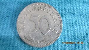 Alte Münze Geldstück 50 Reichspfennig G 1939 Deutsches Reich Alu