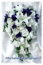 WHITE & BLUE Cascade Bridal Bouquet ~ Roses Calla Lilies Silk Wedding Flowers