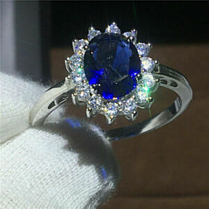 1-50-Ct-Oval-Sapphire-amp-Diamond-Cluster-Halo-Engagement-Ring-14k-White-Gold-Over