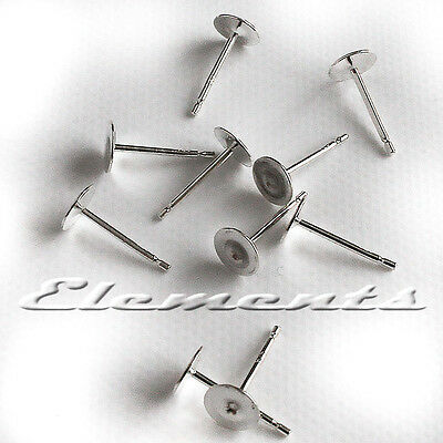 10 x SOLID STERLING 925 SILVER EARRING FLAT DISC STUDS EAR POSTS FRENCH FITTINGS
