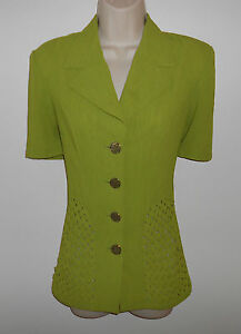 Unique-Woven-Panel-YUE-TAI-Green-Blouse-w-Notched-Collar-Career-Casual-M